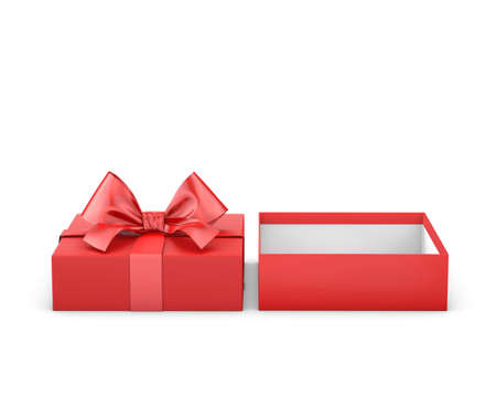 new year s day: Merry Christmas and Happy New Years Day ,Open red gift ribbon bow box white background 3d rendering