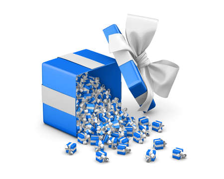 emitting: Merry Christmas, New Years Day , Open blue Gift box emitting little gifts many boxes  ,3d rendering