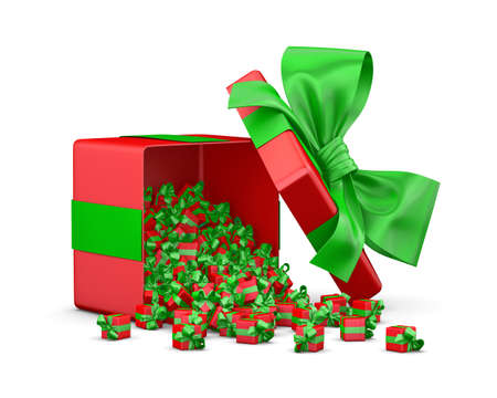 a lot of red gifts  for Merry Christmas, New Years Day , Open Big Gift box emitting little gifts many boxes with a green ribbon ,3d rendering