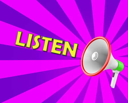responsibility survey: Listen  Megaphone 3d Illustration rendering