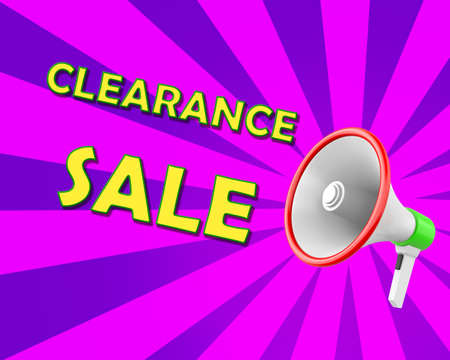 Megaphone business concept with text Clearance Sale,  illustration 3d rendering