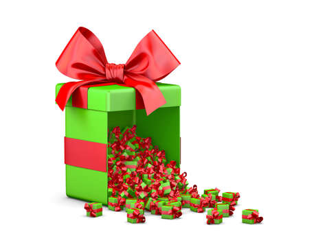 Merry Christmas, New Years Day , Open green red Gift box emitting little gifts many boxes  ,3d rendering Stock Photo