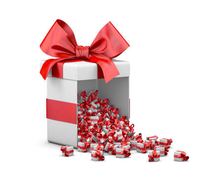 new years day: Merry Christmas, New Years Day , Open red Gift box emitting little gifts many boxes  ,3d rendering