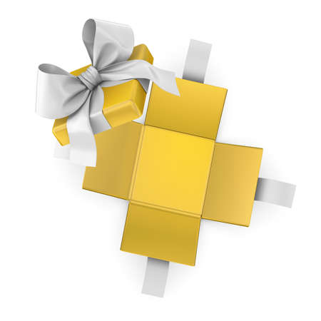 new years day: Christmas, New Years Day ,Open yellow gift box white background top view 3d rendering
