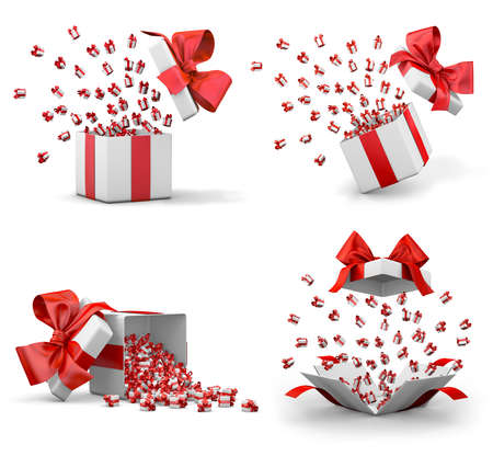 emitting: a lot of red gift box for Merry Christmas, New Years Day , Open Gift boxes emitting little gift many boxes with a red ribbon ,3d rendering