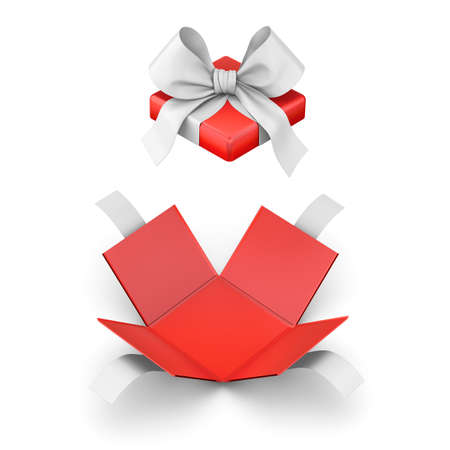 gift box for Christmas, New Years Day ,Open red gift box white background top view 3d rendering