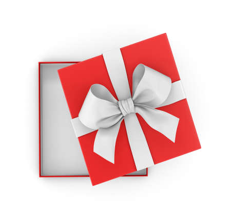 gift box for Christmas, New Years Day ,Open red gift box top view white background 3d rendering