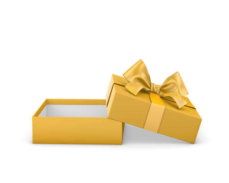 gift box for Merry Christmas and Happy New Years Day ,Open yellow gift ribbon bow box white background 3d rendering
