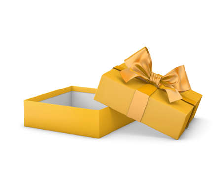 new year s day: gift box for Merry Christmas and Happy New Years Day ,Open yellow gift ribbon bow box white background 3d rendering