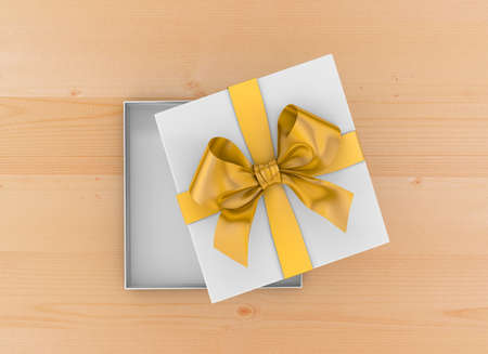 new years day: gift box Christmas, New Years Day ,Open yellow gift box top view on table background 3d rendering