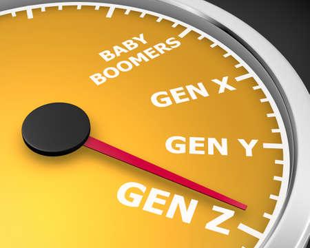 Generation X Y Z Speedometer Words 3d Illustration rendering Standard-Bild