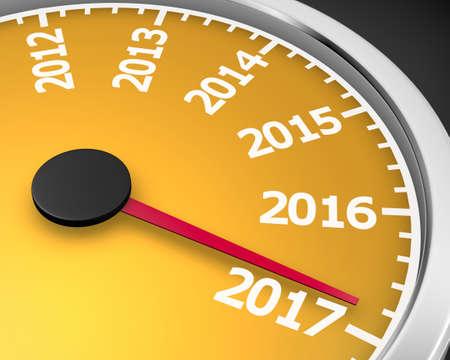 2017 year speedometer concept. 3d rendering