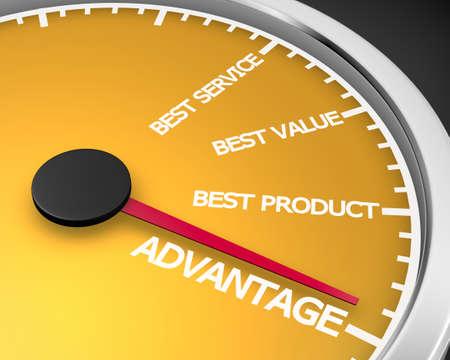 advantage: Advantage Better Product Price Service Speedometer 3d Illustration rendering Stock Photo