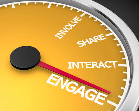 Involve Share Interact Engage meter 3d Illustration rendering Stock Photo