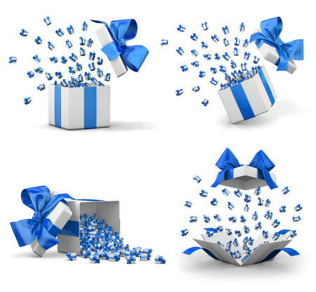 a lot of blue gift box for Merry Christmas, New Years Day , Open Gift boxes emitting little gift many boxes with a blue ribbon ,3d rendering