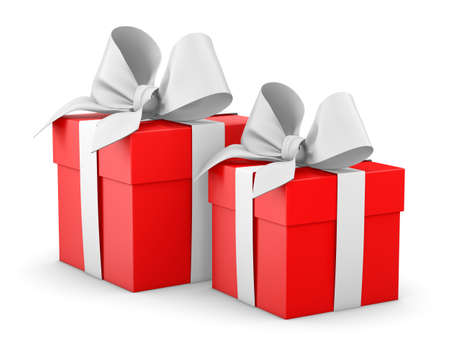 gift boxes for Christmas, New Years Day , 2 redgift boxes white background 3d rendering