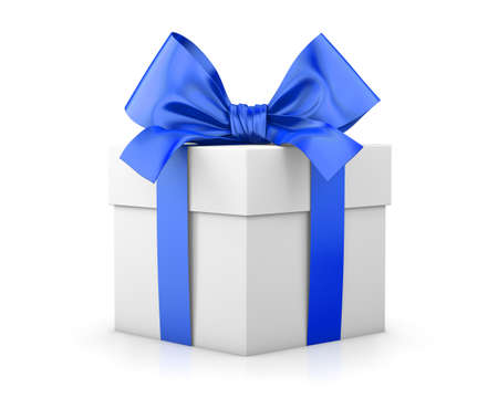new year s day: gift box for Christmas, New Years Day , blue gift box white background 3d rendering