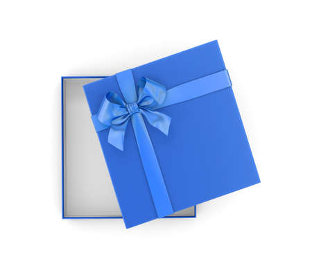 new year s day: gift box for Christmas, New Years Day ,Open blue gift box top view white background 3d rendering Stock Photo