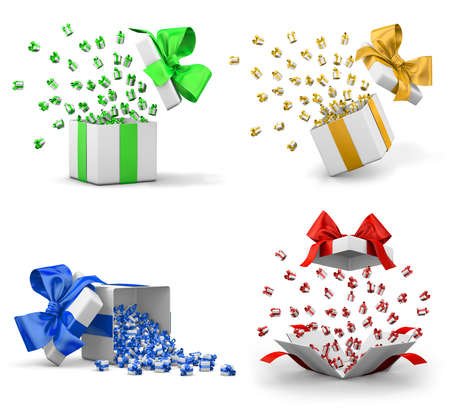 a lot of  gift box for Merry Christmas, New Years Day , Open Gift boxes emitting little gift many boxes with a  ribbon ,3d rendering