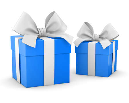 new year s day: gift boxes for Christmas, New Years Day , 2 blue sky gift boxes white background 3d rendering
