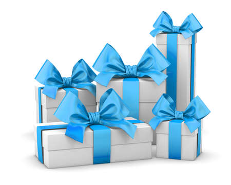 set of gift box isolated for Christmas, New Years Day , group blue sky gift boxes white background 3d rendering