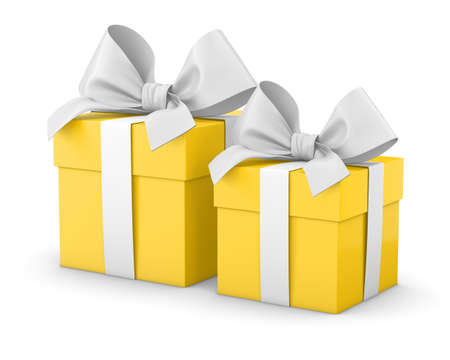 new year  s day: gift boxes for Christmas, New Years Day , 2 yellow gift boxes white background 3d rendering