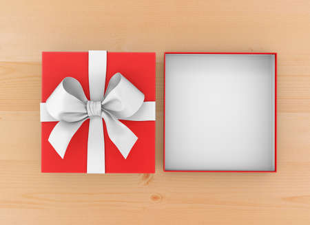new year s day: Christmas, New Years Day ,Open red gift box top view on wood table background 3d rendering Stock Photo
