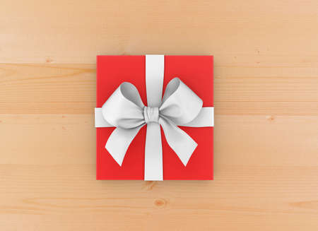 new years day: Christmas, New Years Day , red gift box top view on wood table background 3d rendering