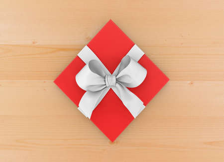 new year s day: Christmas, New Years Day , red gift box top view on wood table background 3d rendering