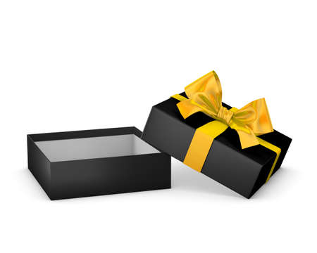 new years day: Merry Christmas and Happy New Years Day ,Open yellow black gift ribbon bow box white background 3d rendering