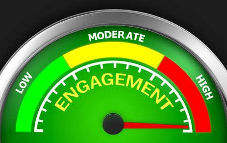 maximum: Engagement level to maximum conceptual meter, 3d rendering