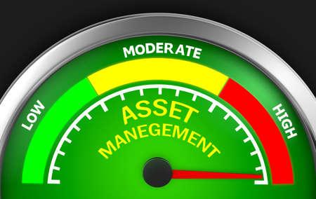 digital asset management: asset management level to maximum conceptual meter, 3d rendering