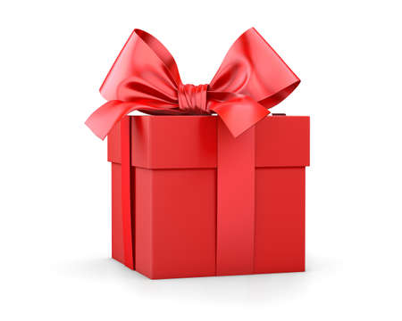 gift box for Christmas, New Years Day , red gift box white background 3d rendering