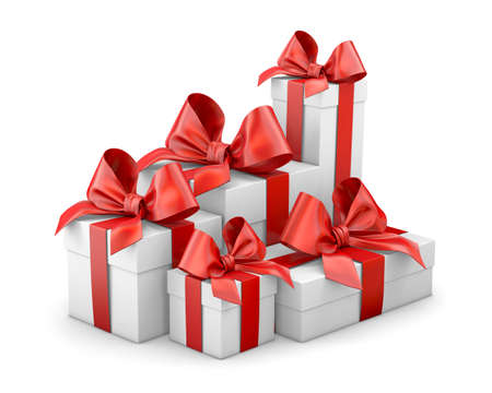 Set of gift box isolated for Christmas, New Years Day , group pile red gift boxes white background 3d rendering