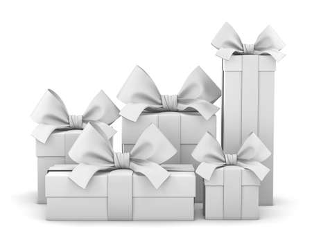 new year s day: Set of gift box isolated for Christmas, New Years Day , group pile white gift boxes white background 3d rendering