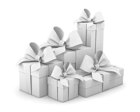 Set of gift box isolated for Christmas, New Years Day , group pile white gift boxes white background 3d rendering