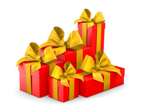 Set of gift box isolated for Christmas, New Years Day , group pile red yellow gift boxes white background 3d rendering