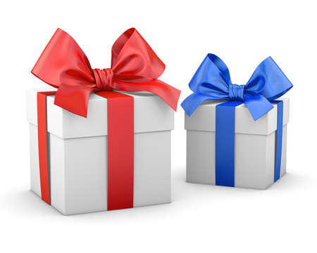 new years day: gift boxes for Christmas, New Years Day , 2 blue and red gift boxes white background 3d rendering Stock Photo