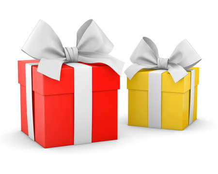 new year s day: gift boxes for Christmas, New Years Day , 2 yellow and red gift boxes white background 3d rendering Stock Photo