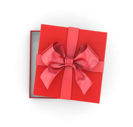 new years day: Christmas, New Years Day ,Open red gift box top view on white background 3d rendering Stock Photo