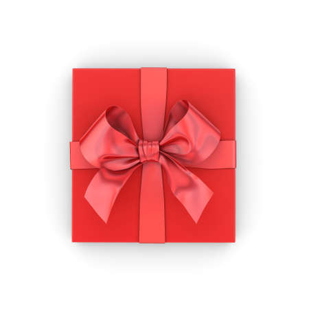 Christmas, New Years Day , red gift box top view on white background 3d rendering