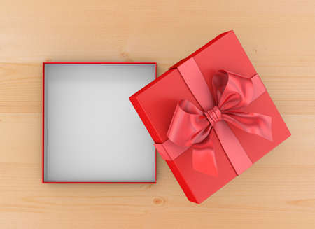 new years day: Christmas, New Years Day ,Open red gift box top view on wood table background 3d rendering Stock Photo