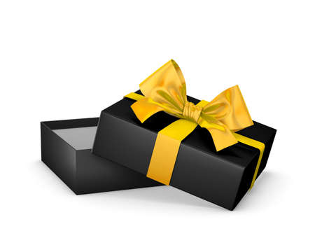 new year s day: Merry Christmas and Happy New Years Day ,Open yellow black gift ribbon bow box white background 3d rendering