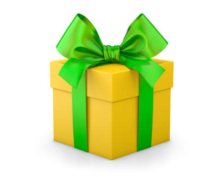 gift box for Christmas, New Years Day , yellow green gift box white background 3d rendering
