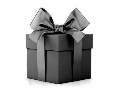 ブラックフラ イデーのセール、クリスマス、お正月用ギフト ボックス ブラック ギフト ボックス ホワイト バック グラウンド 3d レンダリング