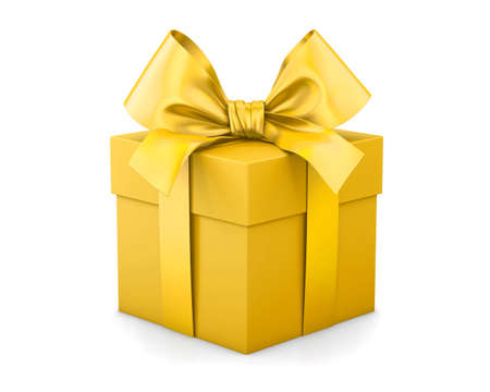 new years day: gift box for Christmas, New Years Day , yellow gold gift box white background 3d rendering Stock Photo