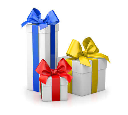 set of gift box isolated for Christmas, New Years Day , group three colorful gift boxes white background 3d rendering Stock Photo