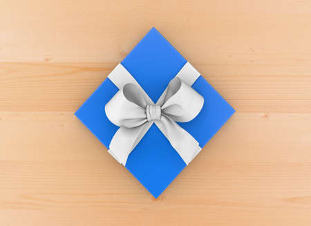 Christmas, New Years Day , blue gift box top view on wood table background 3d rendering