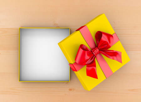 gift box Christmas, New Years Day ,Open red yellow gift ribbon box top view on table wood background 3d rendering