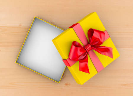 table wood: gift box Christmas, New Years Day ,Open red yellow gift ribbon box top view on table wood background 3d rendering